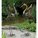 - CHSGJY Large Copper Patina Flying Crane Pair Sculpture Heron Bird Yard Art Metal Statue Home Garden Decor