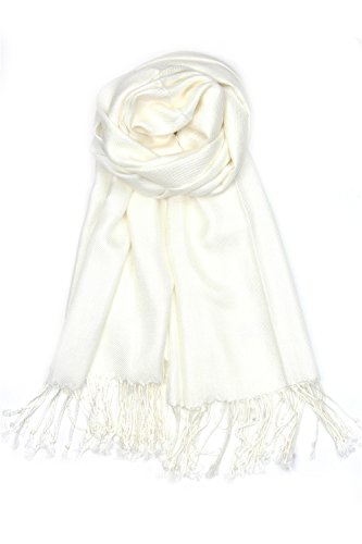 Achillea Large Soft Silky Pashmina Shawl Wrap Scarf in Solid Colors (Ivory) - Front Tie Wool Jacket