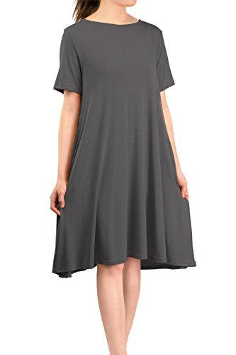 Malibu Days Women's Side Pockets Short Sleeve Casual Basic Loose Plain Solid Flared T Shirt Midi Dress