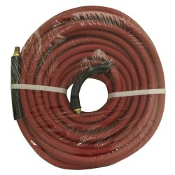 "3/8"""" x 50' Red Rubber Hose Coupled Brass 1/4"""" Male x Male"
