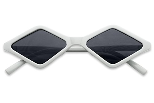 (SunglassUP Sleek Summer Bright Vintage Diamond Shape Style Sunglasses (White Frame | Black))