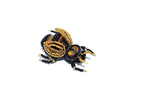 - Bead Embroidered Bee Brooch with Tiger Eye, Czech Faceted Glass Beads. Black Gold Bug Brooch Pin. Wasp Fly Insect Beetle Jewelry. Unique Gift for Her