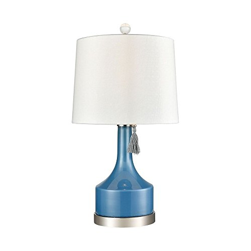 - Elk Lighting D3627 Bon Vivant Table Lamp, Olympian Blue, Polished Nickel