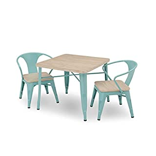 Delta Children Bistro Kids Play Table with 2-Piece Chair Set   Eggshell Aqua with Driftwood   Ideal for Arts & Crafts, Snack Time, Homeschooling, Homework & More