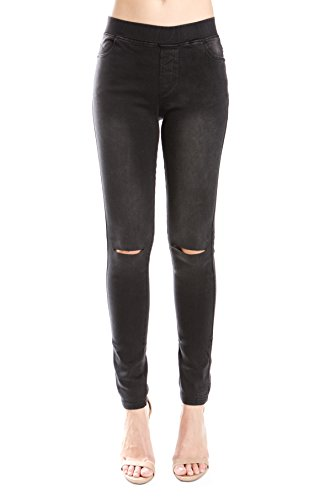Trinity Jeans Womens Distressed/Ripped/Cut Pull On Stretch Skinny Denim Jeggings
