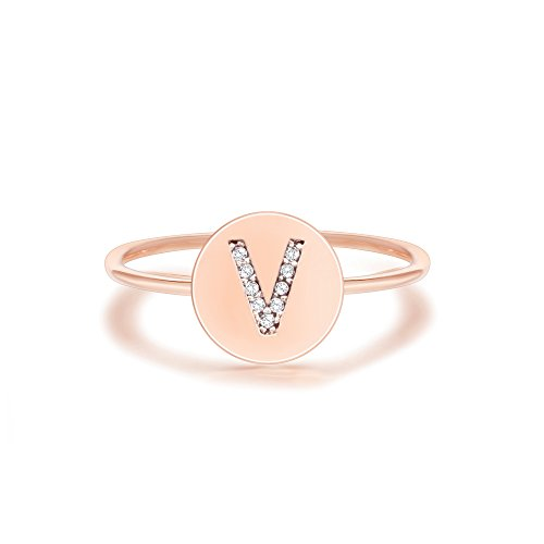 PAVOI 14K Rose Gold Plated CZ Simulated Diamond Alphabet Disc Initial Ring Stackable Adjustable - V