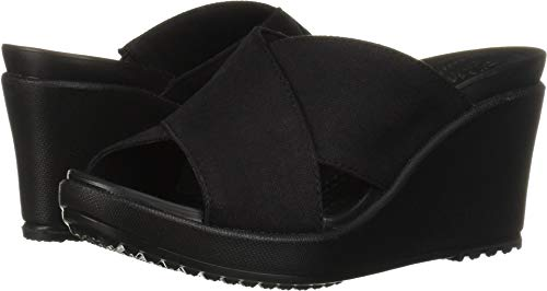 Crocs Women's Leigh II Cross-Strap Wedge Sandal, black/black, 11 M US (Crocs Open Toe Wedge)