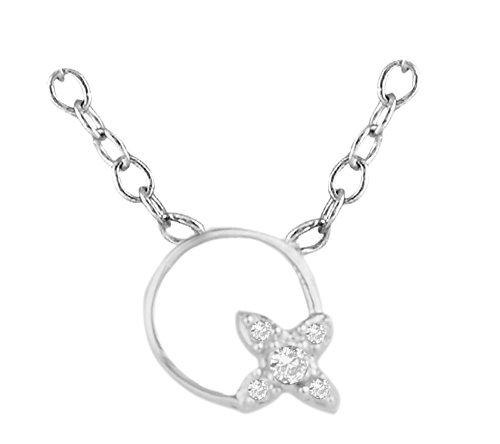 Or Blanc 18 ct Pendentifs Diamant en forme de rond, 0.02 Ct Diamant, GH-SI, 0.31 grammes.