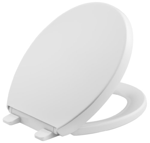 White Round Front - KOHLER K-4009-0 Reveal Quiet-Close with Grip-Tight Bumpers Round-front Toilet Seat, White