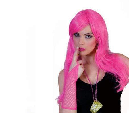 Lote/Conjunto de 3 Piezas - Pelo Largo Peluca Diva Rosa Fucsia: Amazon.es: Juguetes y juegos