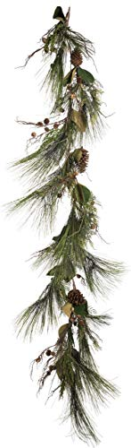 6' ForeverTree Long Needle Pine Garland with Cedar, Twigs, Cones, and Magnolia Leaves ()