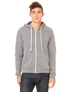 Canvas 3909 Unisex Triblend Sponge Fleece Full-Zip Hoodie, Grey TriBlend, Medium