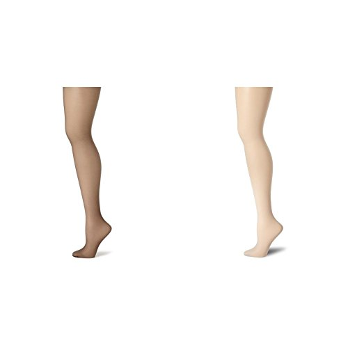 Hanes Women's Control Top Sheer Toe Silk Reflections Panty Hose, Barely Black/Grey, C/D by Hanes
