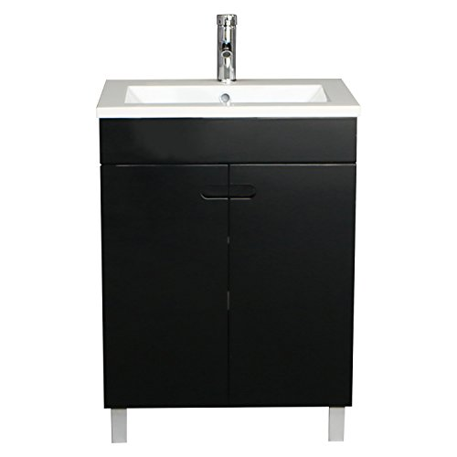 BATHJOY 24 Inch Black 2 Doors Bathroom Wood Vanity Cabinet Storage with Undermount Resin Sink Chrome Faucet Pop Up Drain Combo by BATHJOY