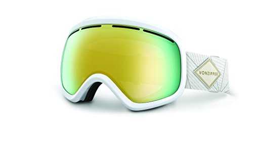 Veezee - Dba Von Zipper Skylab Ski Goggles, White Gloss/Gold Chrome/Bonus - Zipper Von White Sunglasses