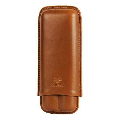 Brown Genuine Leather 2 ct Adjustable Cigar Case Travel Holder