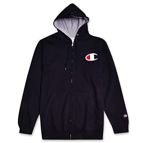 Zip Retro - Champion Mens Big & Tall Retro Full-Zip Fleece Hoodie Sweatshirt Black Heather Grey 2X-Large