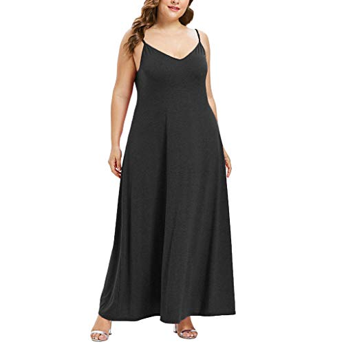 Zlolia Women's Plus Size Solid Color Camisole Maxi Dresses Deep V off-the-Shoulder Strap Dress Fashion Casual Skirt -