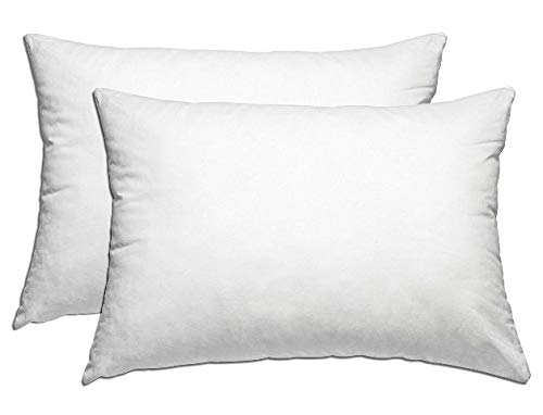 Deluxe 2-Piece Down Alternative Pillow Set W/ 100% Cotton Covers -Micro-denier Pillows W/ 233 Thread-Count, Lofty Fill & Double-Stitch Edges -Hypoallergenic, Dust & Mite Resistant -Queen Size 20 x 28