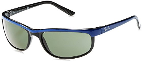 Ray Ban Aviator Wrap Sunglasses - Ray-Ban Men's RB2027 Predator 2 Rectangular Sunglasses, Blue On Black/Green, 62 mm