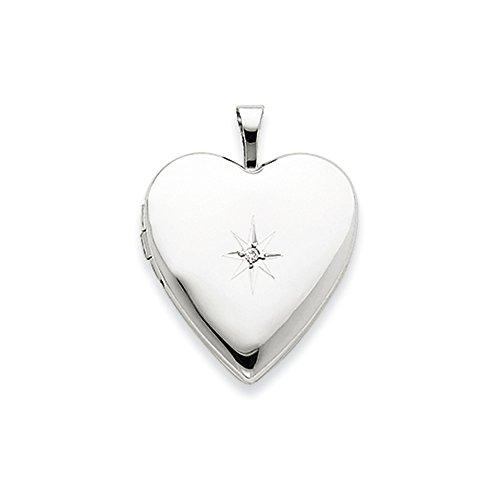 20mm Diamond Star Design Heart Shaped Locket in 14k White Gold -