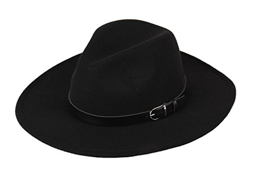 Dantiya Women's Wide Brim Wool Fedora Panama Hat with Belt Black (Felt Fedora Hats)