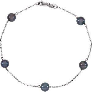 14K perles Noir Blanc Bracelet 17,8cm