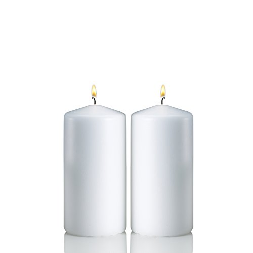 Light In the Dark White Pillar Candles - Set of 2 Unscented