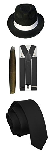 Glossy Look Men's Gangster Pimp Theme Hat Braces Tie Cigar 1920's Party Outfit One Size Black ()