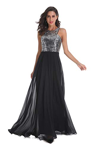 Beauty Kai Women's Long Formal Sequin Chiffon Evening Prom Dress (X-Small, Silver/Black)