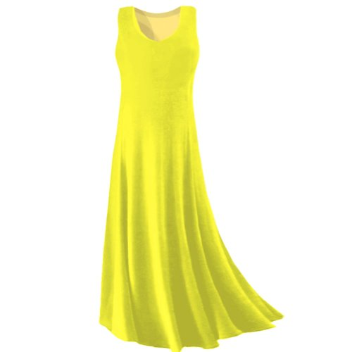 Sanctuarie Designs Women's /2x /Yellow Princess Cut Plus Size Supersize Slinky Tank Maxi Dress/2x /./