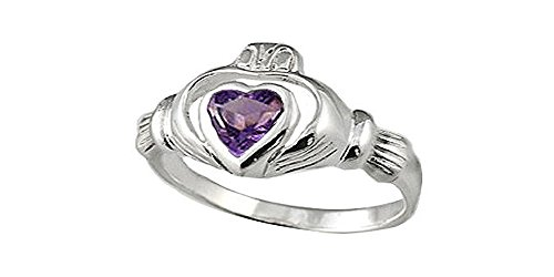 (Sterling Silver Genuine Amethyst Claddagh Ring (Size 7))