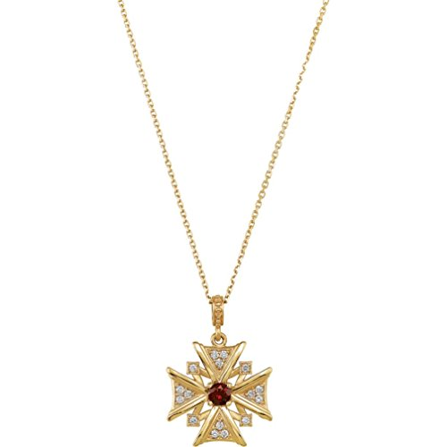 Mozambique Garnet and Diamond Vintage-Style Cross 14k Yellow Gold Necklace, 18'' by The Men's Jewelry Store