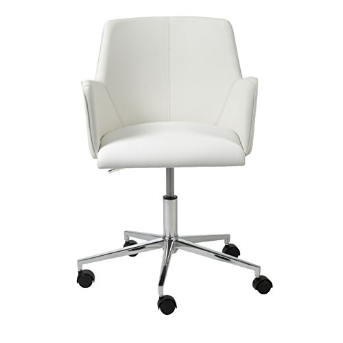 Euro Style Sunny Adjustable Office Chair, White Leatherette with Chrome Base (Style Euro Chair Leather)