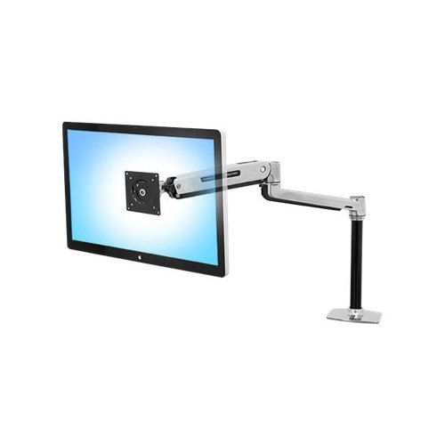 """ERGOTRON LX Sit-Stand Desk Mount LCD Arm - Mounting kit ( pole, VESA adapter, sit-stand arm, desk clamp base, grommet-mount base ) for LCD display - aluminum - polished aluminum - screen size: up to 42"""" - mounting interface: 100 x 100 mm, 75 x 75 mm, / 45"""