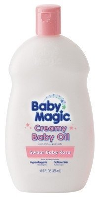 Baby Magic Creamy Baby Oil 16.5 Ounce Sweet Baby Rose (488ml) (2 Pack) by Baby Magic