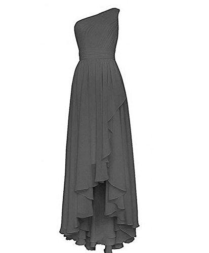 Lo Bridesmaid Hi Women's One Dresses Gray Gown Chiffon Beauty Long Prom AK Shoulder wfqgzFBn