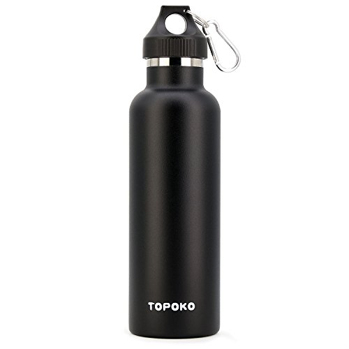 TOPOKO Colored Non-Rusty Stainless Steel Vacuum Water Bottle Double Wall Insulated Thermos, Sports Hike Travel, Leak Proof, BPA Free, 25 oz, Grey (Black)