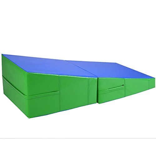Green And Blue Incline Wedge Ramp Gym Mat Slope Gymnastic Training Tool Tumbling Exercise Programs Stretching Yoga Aerobics Martial Arts Daily Care Activities Commercial Grade Construction by HPW