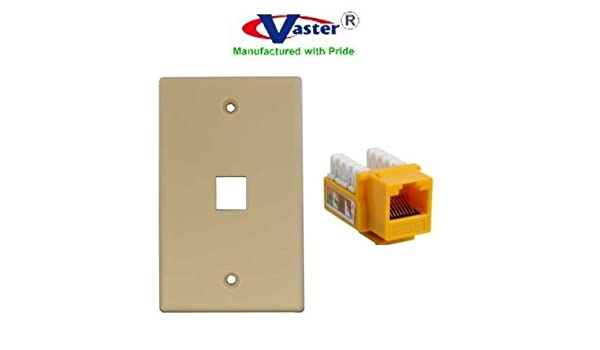 amazon com: superecable - 06164 - 3 pcs/pack - cat 6 punch down 110 type  keystone jack, 1 pcs - yellow with 1 hole wall plate ivory: computers &  accessories