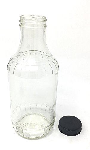 16 oz BBQ Glass Bottle with Black Plastic Lid 12-pack by Pac