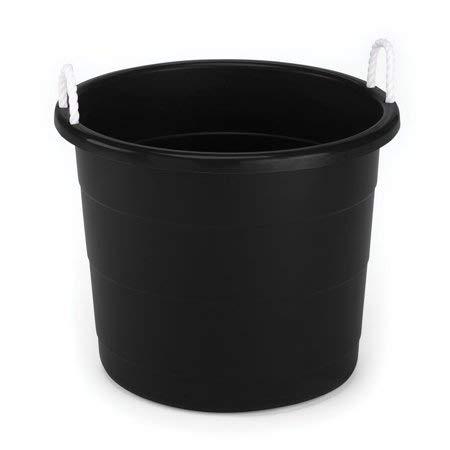 Homz Rope Handle Tub, 17 Gallon, Black, Set of 16