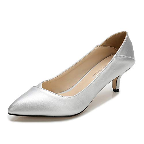 - MAIERNISI JESSI Women's Slip On Pointed Toe Kitten Heel Dress Foldable Pumps Shoes Silver 40-8.5 M US