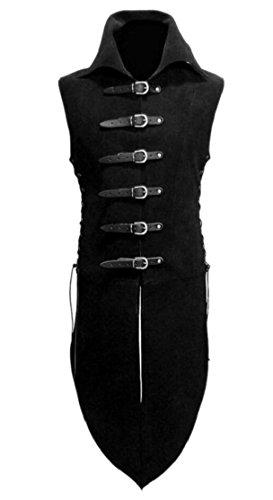 M&S&W Men's Medieval Steampunk Tailcoat Suit Coattail Overcoat Vest Black (Vest With Coattails)