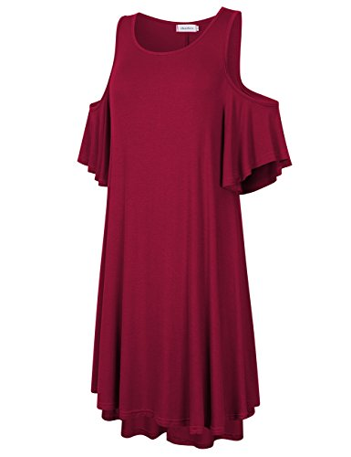 Summer Dress Blouse Clearlove Cold Neck Burgundy Loose Solid Casual Round Shoulder Dress Women Stylish s AA7wOqgt
