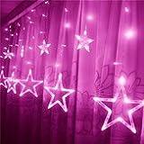 Sensation Drapery Illumination - Led Light String Star Shape Curtain Decor Celebration Festival Wedding - Stellar Bright Virtuoso Sparkle Genius Fluorescent Powdery - 1PCs
