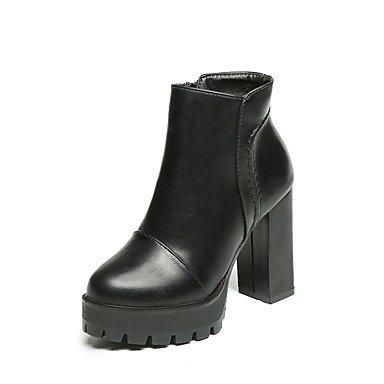 La Negro Caída Casual Formales 3 5 3In UK3 Cn39 3 Tacones RTRY Talón EU36 US5 Pu Us8 Uk6 4En Mujer Chunky Negro Zapatos CN35 5 Zipper Ue39 fx0nq0wOd