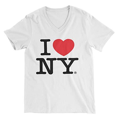 (I Love NY New York Womens V-Neck T-Shirt Spandex Heart White Medium)
