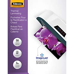 - Fellowes Thermal Laminating Pouches, ImageLast, Jam Free, Letter Size, 3 Mil, 50 Pack (52225)