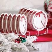 [One Holiday Candy Cane Ceramic Candle Plate Cupcake Holder] (Santa Candy Cane Holder)